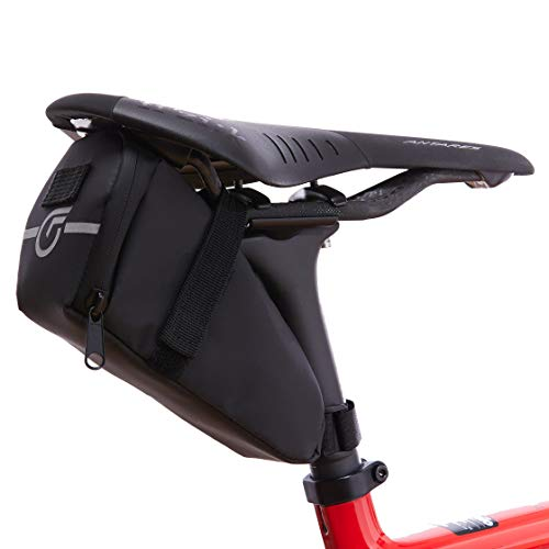 Cycle Factor Waterproof Bike Saddlebag Aerodynamic Bicycle Under Seat Pouch for Mountain, Beach or Road Bikes - Reflective Lining, Interior Mesh Bag &...