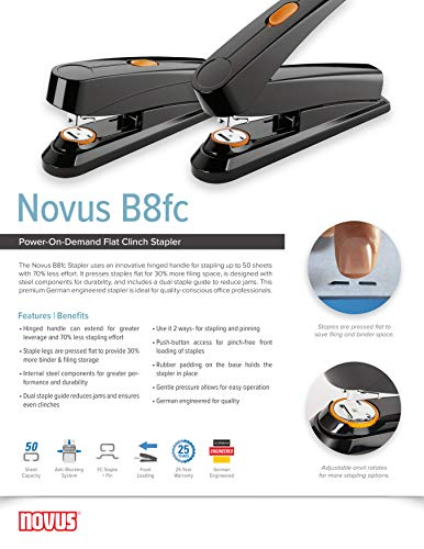Novus B8fc Flat Clinch Stapler, Power on Demand=70% Less Effort, 50 Sheet Capacity, German Engineered, Staple|Pin|Tack, Black (020-1673) Photo #3