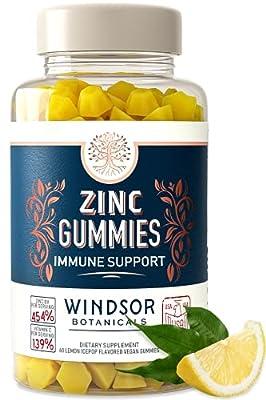 Zinc Gummies with Vitamin C - 60 Lemon Ice Pop Flavored Vegan Gummy Chews - 50mg Zinc Plus Turmeric Curcumin Extract - Windsor Botanicals High-Potency Immune, Cardiovascular, Brain Function Support