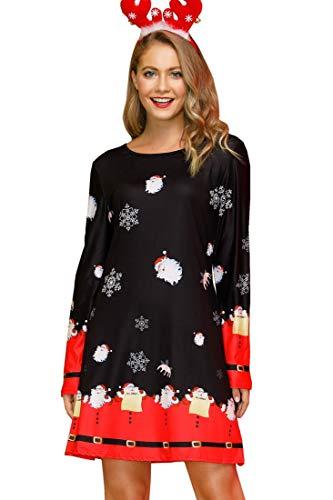 Cute Christmas Holiday Dress Womens Winter Casual Xmas Santa Tunic Dresses Dark Night XL