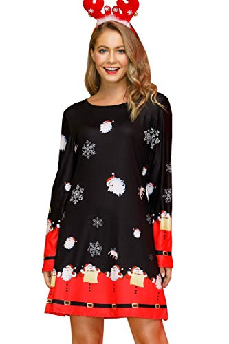 Christmas Dresses for Women A-Line Flared Xmas Santa Long Sleeve Dress Dark Night L