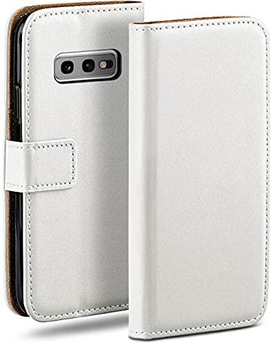 moex Klapphülle für Samsung Galaxy S10e Hülle klappbar, Handyhülle mit Kartenfach, 360 Grad Schutzhülle zum klappen, Flip Hülle Book Cover, Vegan Leder Handytasche, Weiß