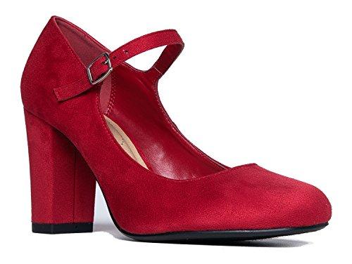 Mary Jane High Heel - Cute Round Toe Block Heel - Classic Comfortable Easy Dress Shoe - Skippy by J Adams, Lips Suede, 7 B(M) US