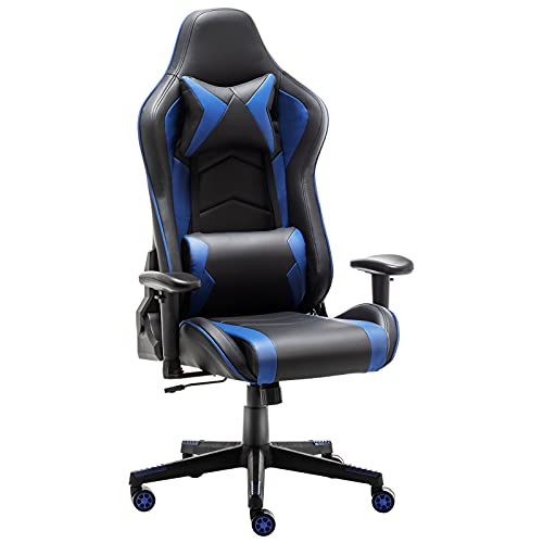 Gaming Chair Office Chair High Back Computer Chair - Ergonomic Adjustable Swivel Desk Chairs with Headrest and Lumbar Support (Blue & Black)