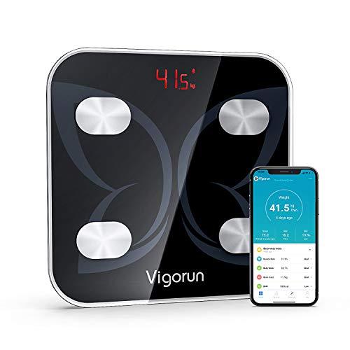 Vigorun Báscula Grasa Corporal Báscula de Baño Bluetooth Báscula Digitale con App y 18 Datos del Cuerpo Peso Músculo Grasa Corporal IMC BMR Negro