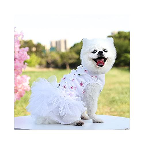 Hond trouwjurk prinses tuturok hond gelaagd ruches kant taart bloem meisje hemdjurk puppy Mlegant kant prinses tutujurken voor meisjes honden-wit_and_pure_XL