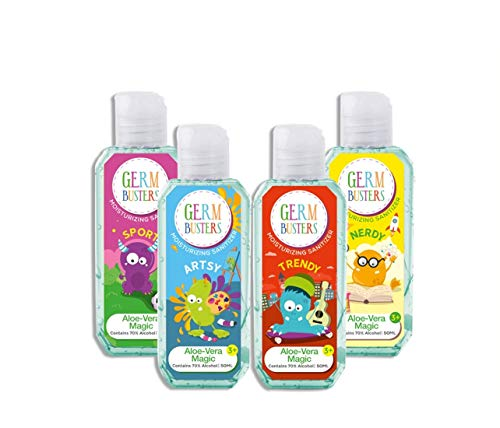 Party Anthem Germ Busters Aloe Vera Hand Sanitizer Gel for Kids/Hand Sanitiser/Kids Sanitiser - 200 ml (50 ml x 4)