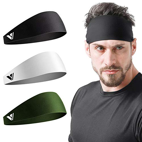 Vgogfly Sweat Headbands for Men Sweatbands for Mens Headband Running Sweat Bands Headbands Men Workout Sports Hairband for Men Thin Fitness Gym Yoga Men Headband Black White Army Green