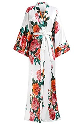 "BABEYOND Kimono Robe Long Floral Bridesmaid Wedding Bachelorette Party Robe 53"" (White)"
