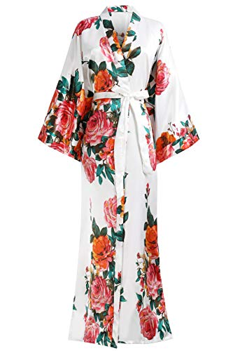 Coucoland Damen Morgenmantel Sommer Blumen Muster Maxi Lang Kimono Kleid Bademantel Damen Lange Robe Blumen Schlafmantel Girl Pajama Party 135 cm Lang (Weiß)