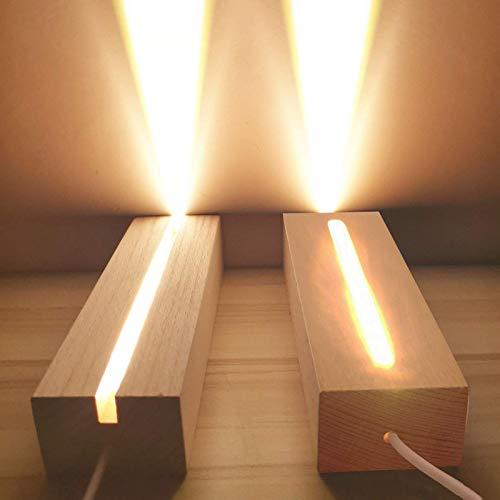 CDIYTOOL Base de exhibición de luces LED, paquete de 2 luces LED de madera, base de luz LED USB, soporte de escritorio base decorativa para DIY placa de acrílico, luz blanca cálida