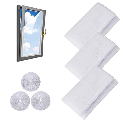 Mosquiteros para ventana, paquete de 3 mosquiteros para ventana, malla para mosquitos, protección contra mosquitos con 3 rollos de cintas autoadhesivas (1,3 m x 1,5 m)
