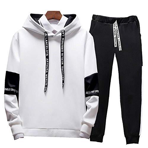 Awoeorsty chandal-Completo para Hombre chándal-sudadera Black Camiseta de Manga Larga Primavera y otoño Chaqueta Apariencia Adultos Sudaderas Trajes de Entrenamiento