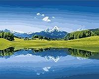 DMFNGJSD 数字油絵 フレームレス 、数字キット塗り絵 手塗り DIY絵-風景油絵 40X50cm