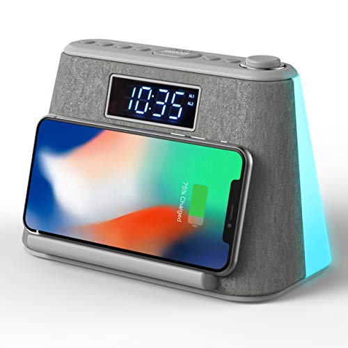 Alarm Clock Bedside FM Radio Non Ticking with USB Charger & Wireless QI Charging, Bluetooth Speaker, RGB LED Night Light, Dimmable Display and White Noise Machine (Grey)
