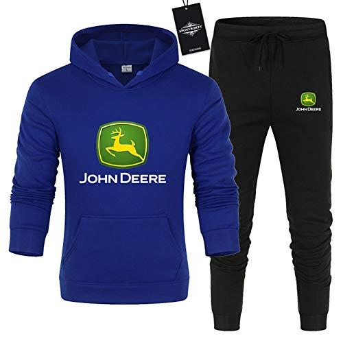 Hönack Hombre y Mujer Chándal Para John-Dee.Re.s Color Sólido Suéter de Dos Piezas con Capucha Pantalones Ropa Deportiva Saco/Bule/L