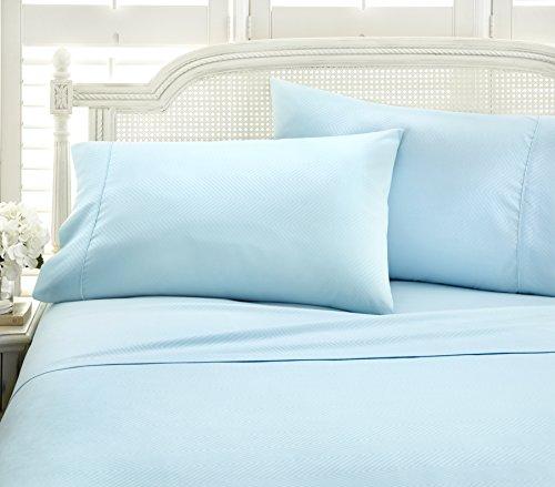 ienjoy Home 4 Piece Home Collection Premium Embossed Chevron Design Bed Sheet Set, Queen, Aqua