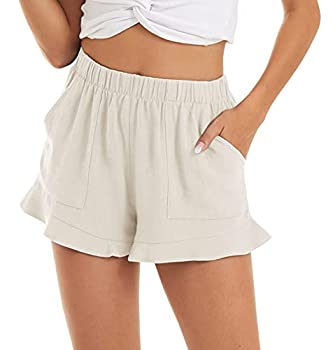 CRYSULLY Women s Lightweight Short Pants Pure Color Shorts with Pockets Drawstring Ruffle Hem Off White XS