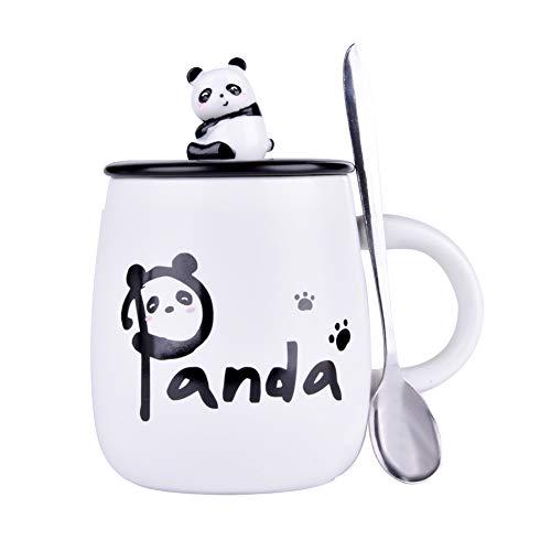 Taza de café de cerámica con tapa y cuchara de panda 3D,...