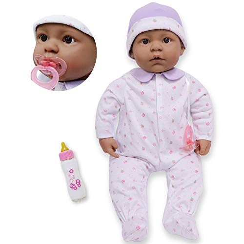 JC Toys - La Baby - Hispanic 20-inch Large Soft Body Baby Doll - Washable - Removable Purple Outfit with Hat and Pacifier - For Children 2 Years plus