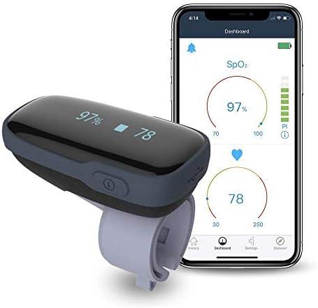 Oximetro Dedo, Pulsioximetro Profesional, Medidor Saturacion Oxigeno, Medidor Bluetooth de Oxígeno en Sangre con Alarma en Dispositivo y APP para Movíl, Medidor Recargable Para FP SpO2