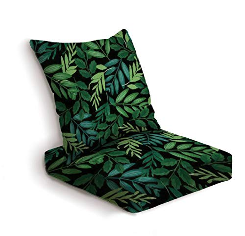 2-Piece Outdoor Deep Seat Cushion Set Green and teal tropical leaf pattern Seamless graphic design tile Back Seat Lounge Chair Conversation Cushion for Patio Furniture Replacement Seating Cushion