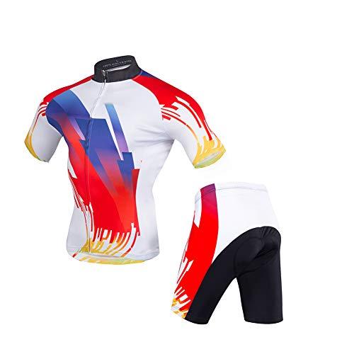 HUIGE fietsshirt voor heren, set fietsbroek met korte mouwen, MTB-fietskledij, fietsbroek voor fietsen, set trainingsbroek met hoge taille, outfit buiten, ademend