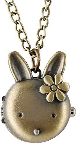 Wghz Orologio da Tasca a Forma di Coniglio Adorabile per Uomo, Orologi da Tasca con Cassa in Lega di Bronzo per Donna, Orologio Classico con Pendente da Cacciatore Completo per Signora
