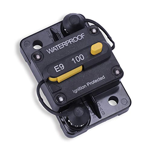 JUSTTOP 100Amp Circuit Breaker, 12V-48V DC Circuit Breaker with Manual Reset Waterproof Inline Fuse, Suitable for Campers, Trailers, RV, Ships, etc