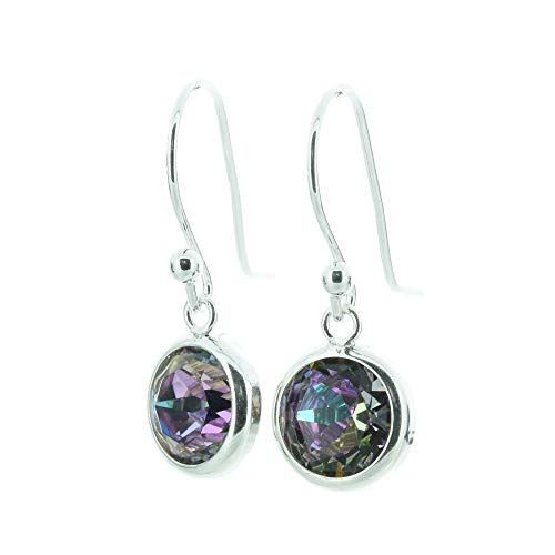 pewterhooter 925 Sterling Silver drop earrings for women made with sparkling Manhattan Sunset crystal from Swarovski in a silver channel setting. Gift box. Made in the UK