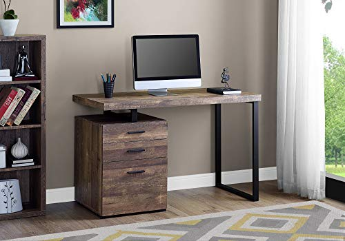 "Monarch Specialties Computer Desk with File Cabinet - Left or Right Set- Up - 48"" L (Brown Reclaimed Wood Look)"