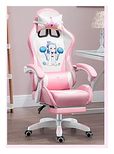GUHUIHE Silla de Juego de computadora Rosa y Blanca para Adolescentes, Altura de Asiento Ajustable y Soporte Lumbar y Cabeza