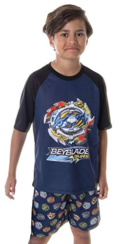 Beyblade Burst Boys' Spinner Tops 2 Piece Shorts And T-Shirt Sleepwear Kids Pajama Set (SM, 6/7)