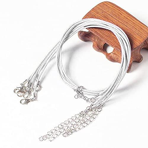ZSDFW 20 cuerdas de algodón encerado para manualidades con hilo encerado de alambre de cuero redondo con cierre de pinza de langosta de aleación, para hacer pulseras, collares, joyas, color blanco