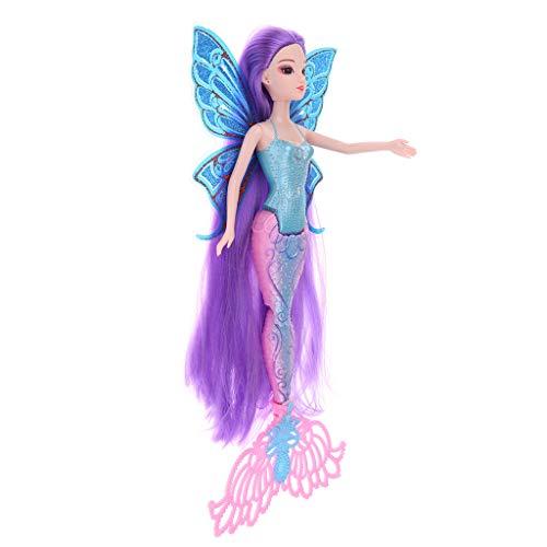 chiwanji La Muñeca Clásica de La Sirena Juega Las Figuras de La Muchacha de La Princesa con El ala de Cola Brillante # C