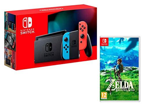 Nintendo Switch Console Rouge/Bleu Néon 32Go [Nouveau modèle] + The Legend of Zelda: Breath of The Wild