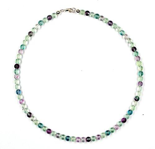 Fluorit Schmuck (Halskette) Fluorit Kette Fluorit Kugeln mehrfarbig Größe ca. 6 mm Verschluss 925er Sterling-Silber Modellnummer 7033