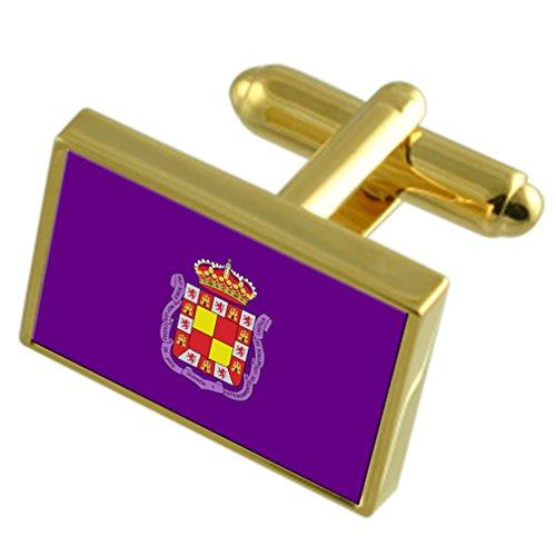 Select Gifts Ciudad de Jaén España Oro Gemelos de Bandera Cuadro Grabado