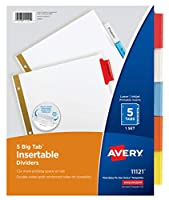 (5 Tab, 6-pack) - Avery 5-Tab Binder Dividers, Insertable Multicolor Big Tabs, 6 Sets (11109)