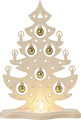 weigla Teelichthalter Weihnachtsbaum mit goldenen Kugeln für EIN Teelicht Erzgebirge garantiert