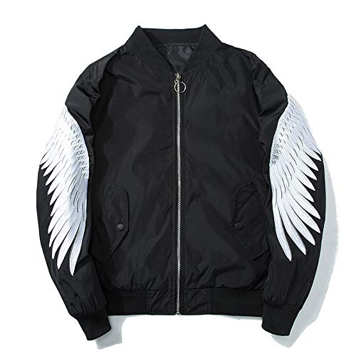 Men's Jacket-Lightweight Casual Spring Fall, Flight Jacket, Three-Dimensional Version, Oriental Embroidery, Angel Wings, Soft and Comfortable, Windproof,Black White,L