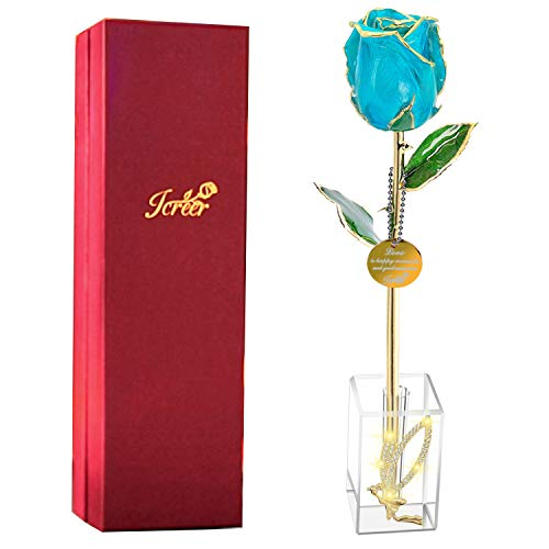 Icreer 24k Gold Dipped Real Rose with Crystal Stand,Present for Mother's Day/Anniversary/Birthday/Wedding...