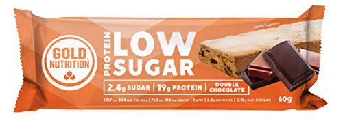 GoldNutrition Total Protein Bar Low Sugar Suplemento Deportivo, Sabor Chocolate - Paquete de 10 x 60 gr - Total: 600 gr
