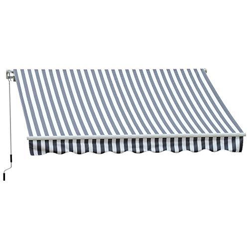 Outsunny Markise Gelenkarmmarkise Sonnenschutz Handkurbel Balkon Alu Grau/Weiß 3,5x2,5m