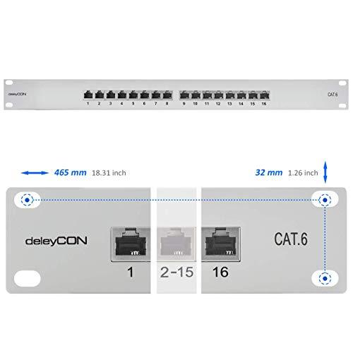 deleyCON CAT 6 Patchpanel Verteilerfeld 16 Port - Desktop 19 Zoll Rackeinbau Servermontage - RJ45 - Geschirmt - TIA568A TIA568B Grau