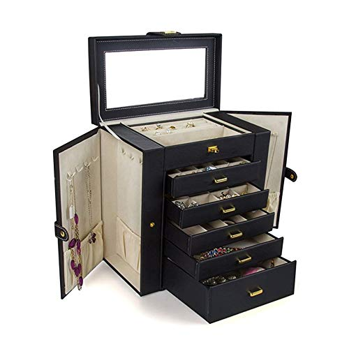 N / C Organizador de joyero Grande Funcional Enorme con Cerradura, Cuero Duradero, Elegante diseño Moderno, Gran Espejo de Vidrio Biselado, cajón móvil