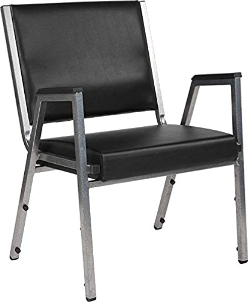 StarSun Depot Hercules Series 1500 Lb Rated Black Antimicrobial Vinyl Bariatric Arm Chair With Silver Vein Frame 26 5 W X 23 5 D X 34 H