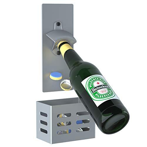 LEcylankEr Abrebotellas de Pared con Magnetico,Abridor Cerveza de tapas de botella,Regalos para padres,amantes,hijos,amigos (gris)
