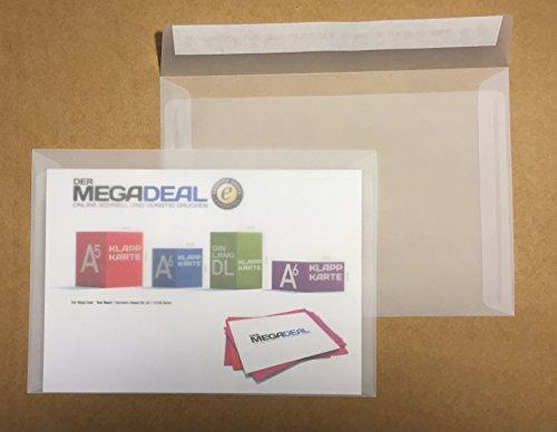 25 transparente Kuverts, C5 = 229 x 162 mm, Haftklebestreifen, 100 g/qm