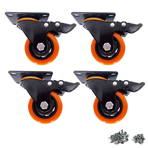 3'' Swivel Caster Wheels Heavy Duty with Brake, Locking Casters Set of 4 PVC Rubber Castor for Cabinet Workbench Tool Box,with Screws and Nut (Orange, 1000Lbs)
